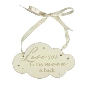WIDDOP Bambino Resin Cloud Hanging Plaque - Love You To The Moon...  CG1367