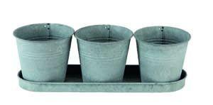 Premier 3 Galvanised Flower Pots&Tray PT183006