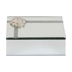 WIDDOP Sophia Glass Mirror Diamonte Flower Oblong Trinket Box  SP1714