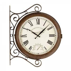 Smart Garden Greenwich Station Wall Clock & Thermometer 15in 5063020