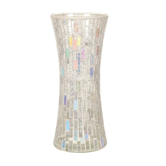Straits Trading Co- Silver Mosaic Waisted Vase30cm Ref: 22020