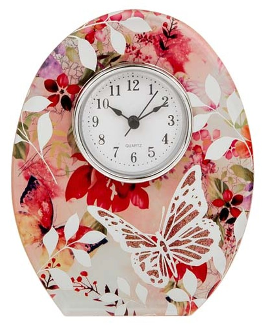 Blush Floral Clock Ref: 65074