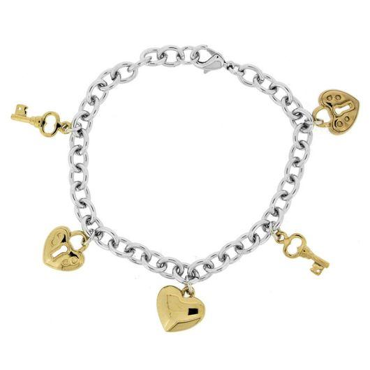 Bracelet - Rhod/Gold Double Heart/Lock 608