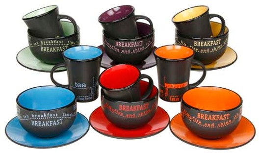 Bright-Dark Stoneware Breakfast Set Lp21599-Lp21600