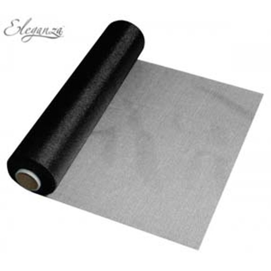 Eleganza Soft Sheer Organza 29cm x 25m Black 221657