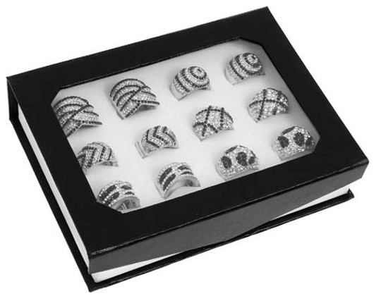 Equillibrium Black Clear Sparkle Ring 7390