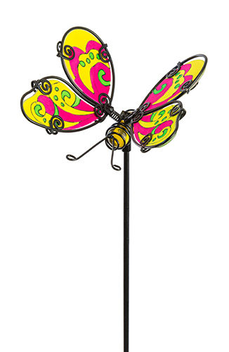 Fountasia Glass Stake Butterfly - Glow In The Dark Yellow/Pink 35065