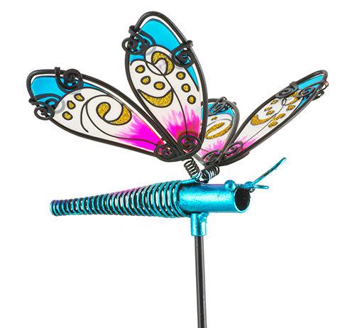 Fountasia Glass Stake Dragonfly - Blue 35060