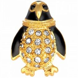 Gold Crystal Penguin Pin 1700