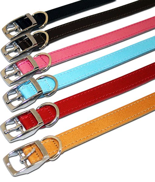 Leather Plain Collar 3-4 X 14-16 Asst Colours 0003