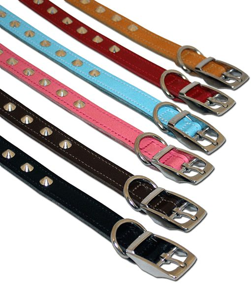 Leather Studded Collar 1 18-21 Asst Colours 0011
