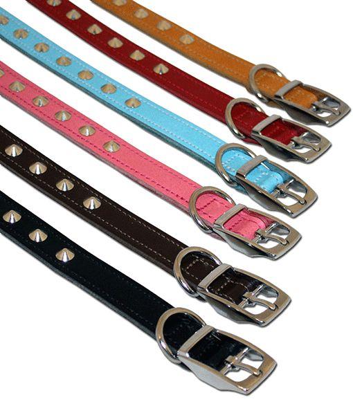 Leather Studded Collar 1 18-21 Asst Colours 0011