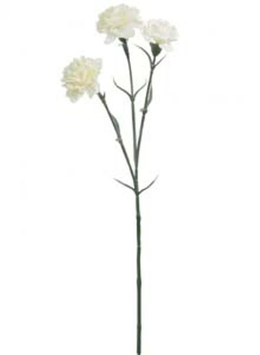 Silk 3Head Carnation Stem Cream Ref 101237