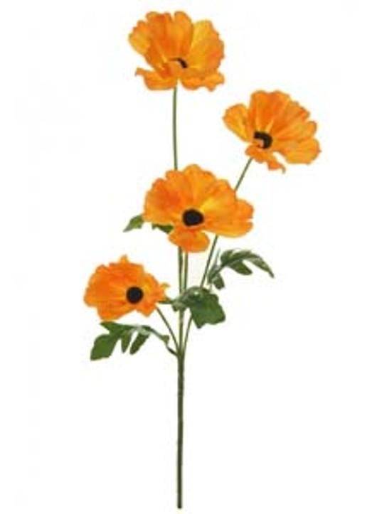 Silk Sml Wild Meadow Poppy Orange Ref 150038