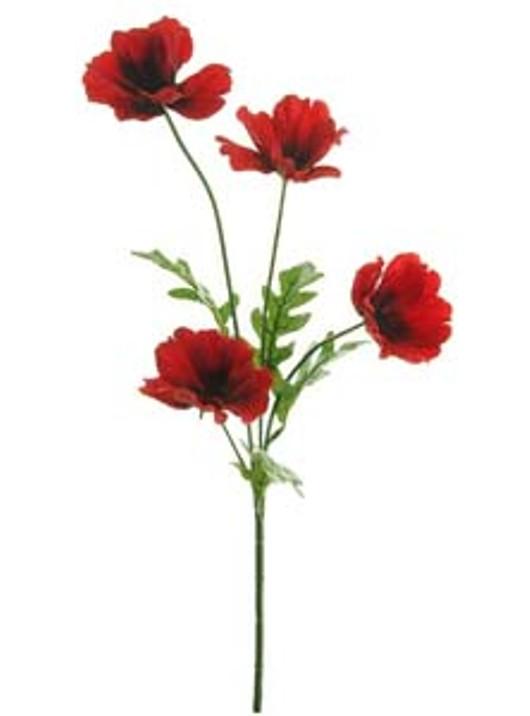 Silk Sml Wild Meadow Poppy Red Ref 149038