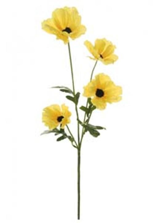Silk Sml Wild Meadow Poppy Yellow Ref 105038