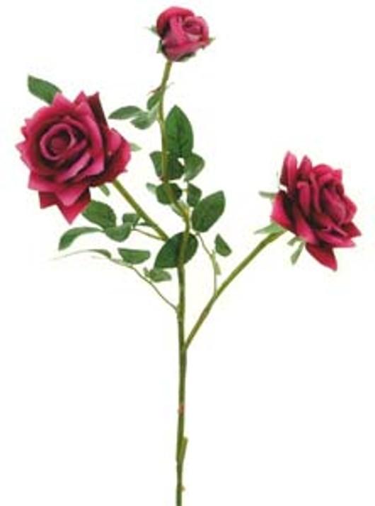 Supreme Silk Med Open Rose Spray Berry Red Ref 194230