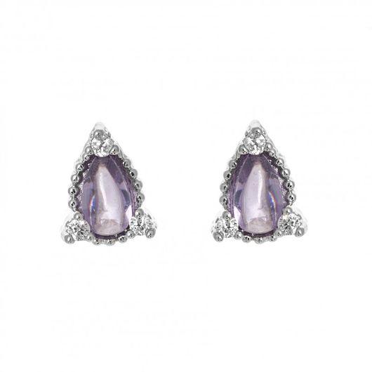 Oval Purple Stud Earrings 1836