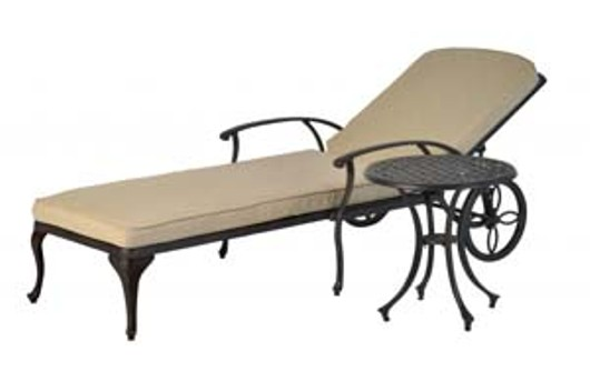 Pagoda Buckingham Cast Lounger & Side Table Set 336770