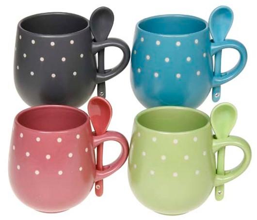 Pastel Dot Mug-Spoon Asst Lp22693