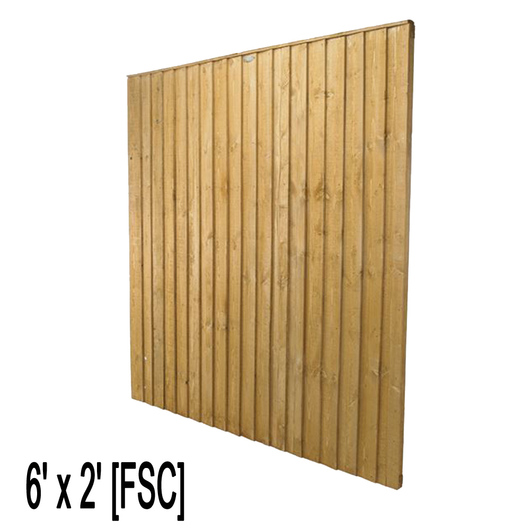 Feather Edge Fence Panel 6ft W x 2ft H [FSC]