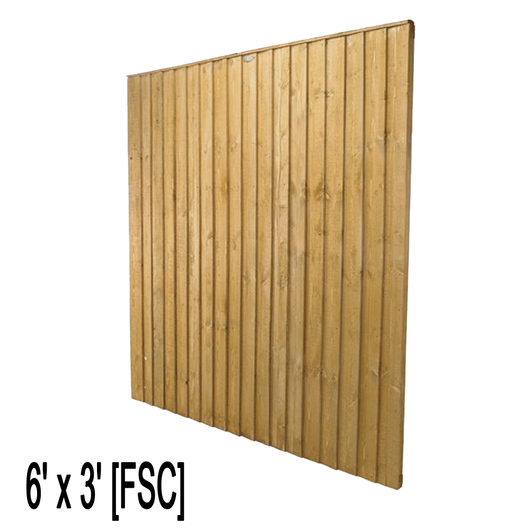 Feather Edge Fence Panel 6ft W x 3ft H [FSC]
