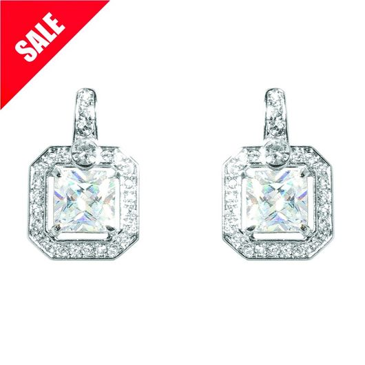 Rhodium Plated Crystal/Cz Clip On Earrings E/Ring1319