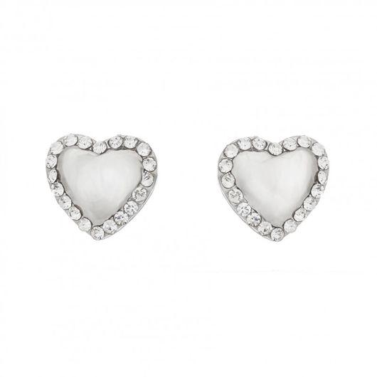 Rhodium Plated Heart Earrings 1888