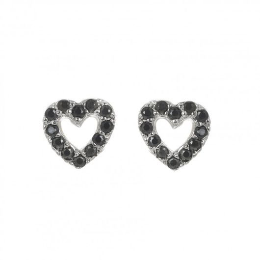 Rhodium Plated Heart Earrings 1899