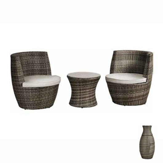 Riviera Grey Rattan Bottle Seat Set