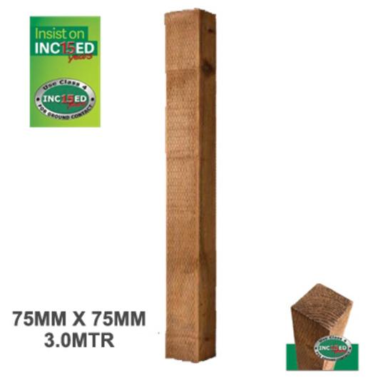 Sawn 75 x 75mm x 3m Green Treated (UC4) Incised Post [FSC]