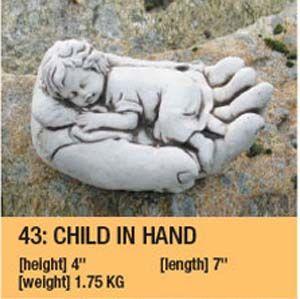 Stone Child In Hand Garden Ornament