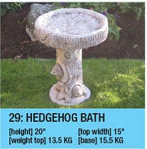 Stone Hedgehog Bird Bath
