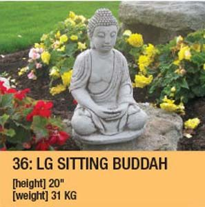 Stone Large Sitting Buddah Garden Ornament