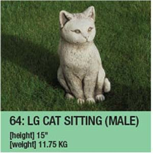 Stone Large Sitting Cat Garden Ornament
