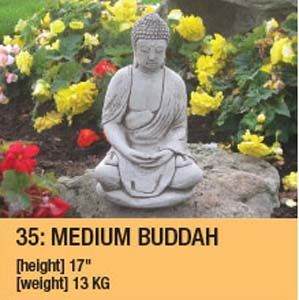 Stone Medium Sitting Buddah Garden Ornament