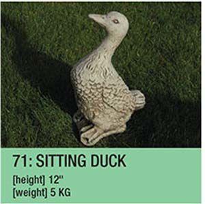 Stone Sitting Duck Garden Ornament