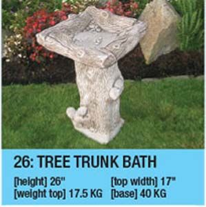 Stone Tree Trunk Bird Bath
