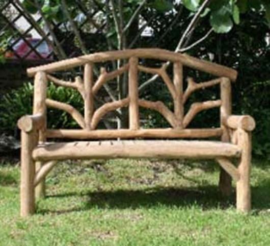 Tripod 2 Seat Wooden Branch Bench - Lo-B3