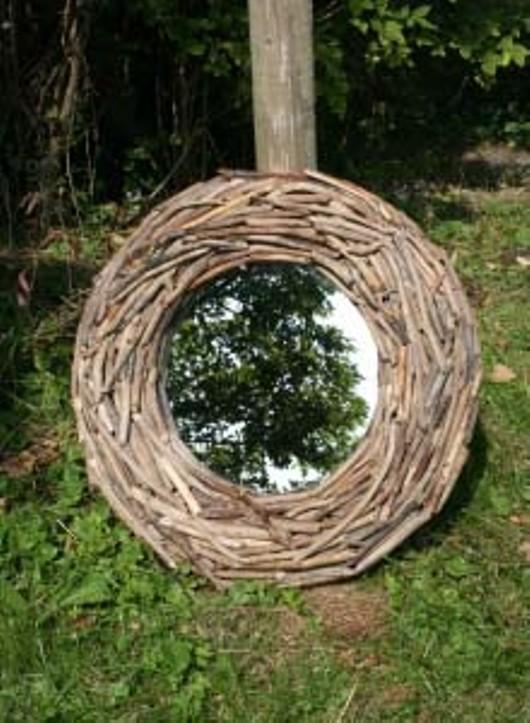 Tripod Wooden Branch Mirror