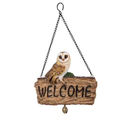Vivid Arts Hanging Barn Owl  Welcome Log Hgf-082