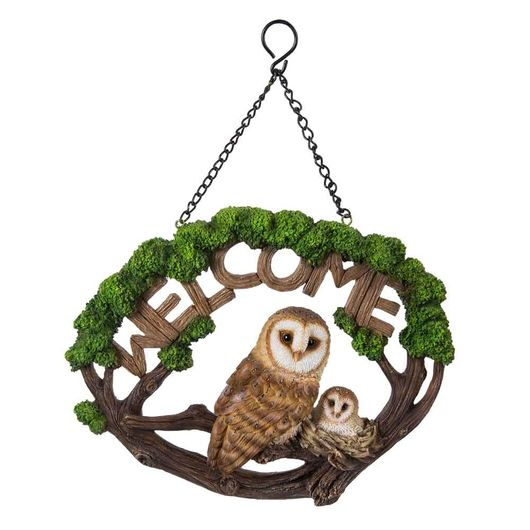 Vivid Arts Hanging Barn Owl  Welcome Sign Hgf-053