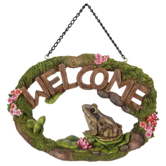 Vivid Arts Hanging Frog Welcome Sign Hgf-058