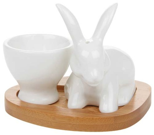 White Bamboo Egg Cup Bunny 40340