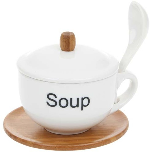 White Bamboo Soup Bowl-Spoon 40350