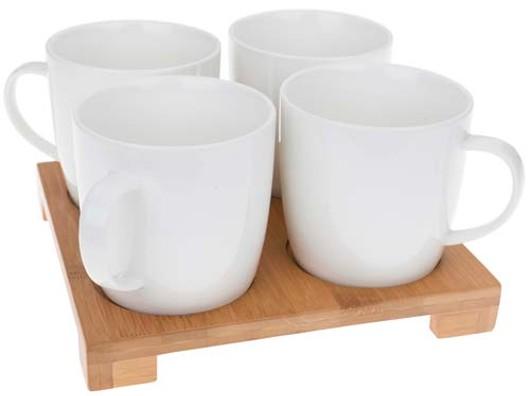 White Bamboo Tray  4 Mugs 50575