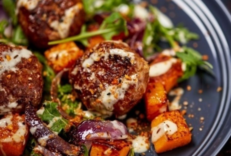 Optimized Lamb And Oat Rissoles With Tahini Sauce And Beetroot Salad 1
