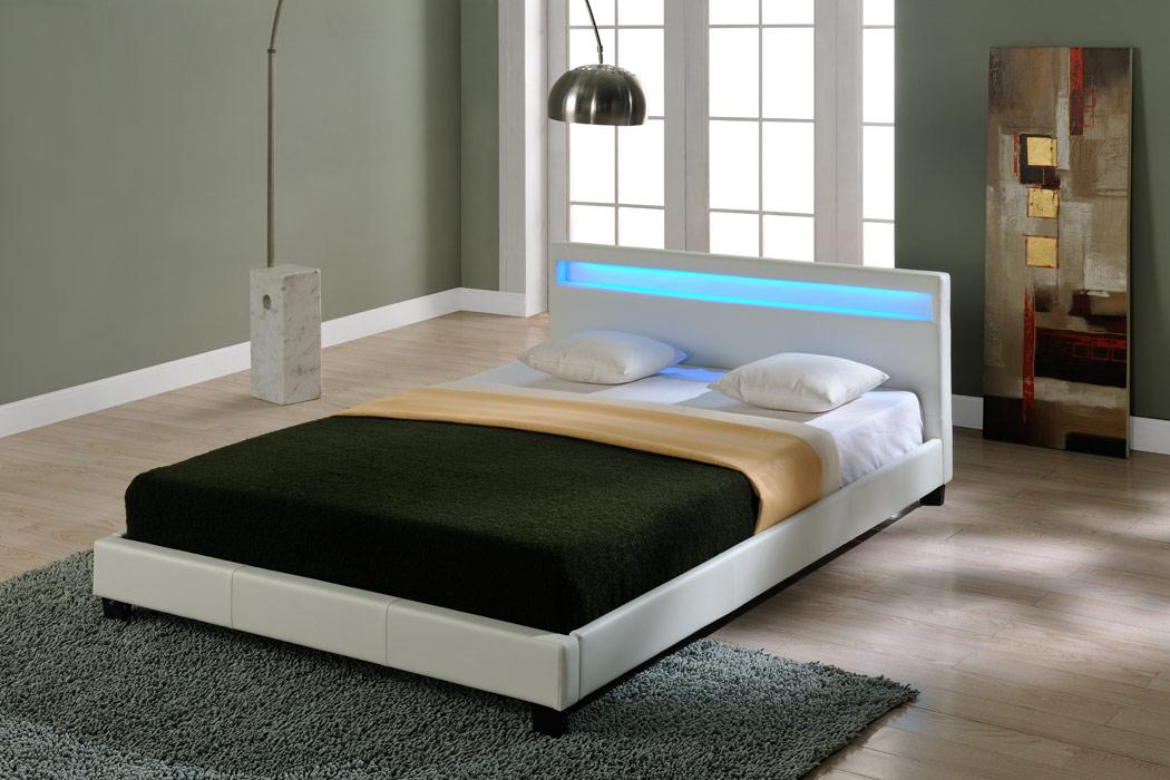 CORIUM LED Estructura de Cama tapizada 140/160/180/200x200cm Cama ...