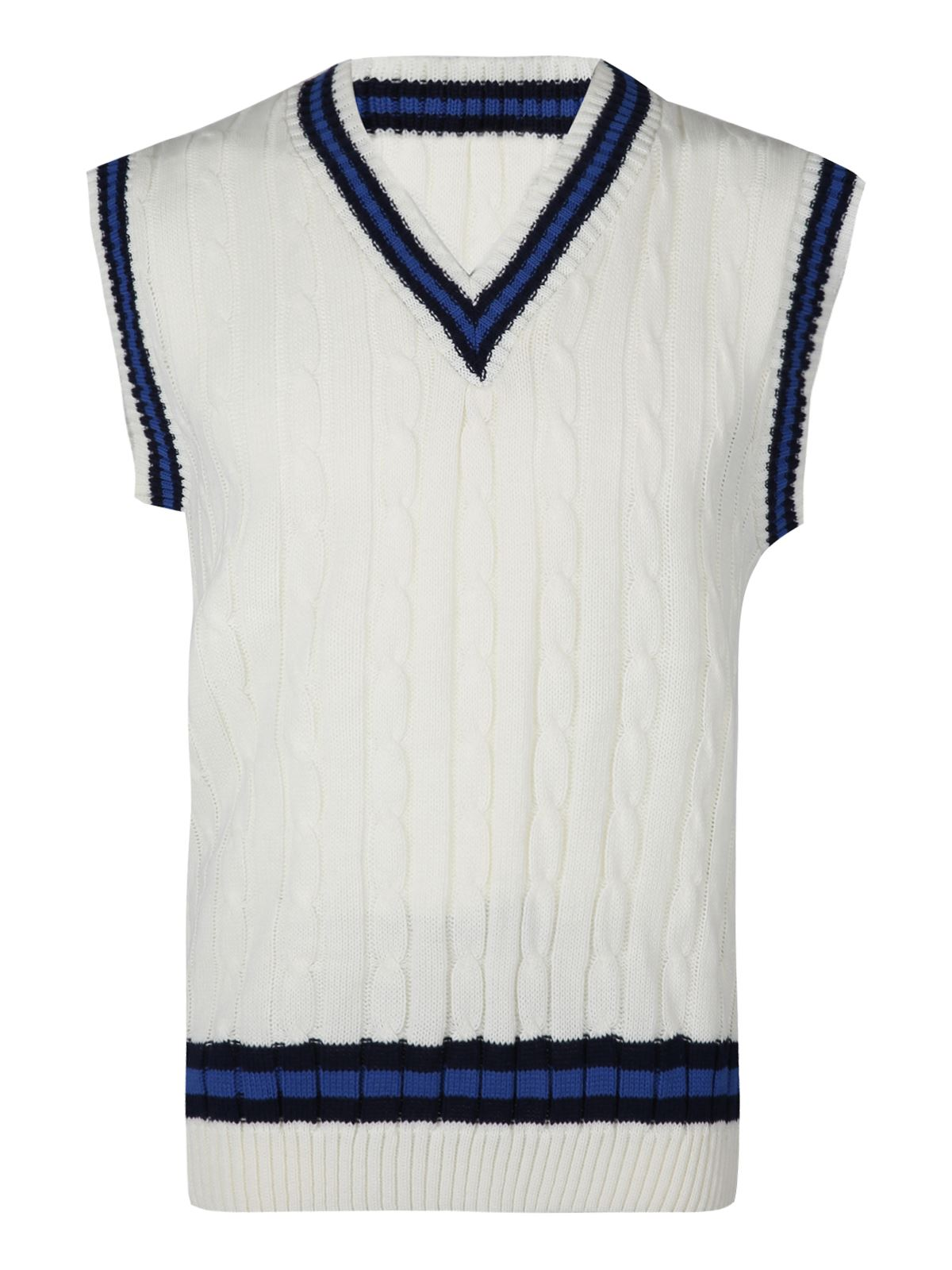 Mens Classic Cricket Cable Knitted Tank Top V Neck Sleeveless Stripe