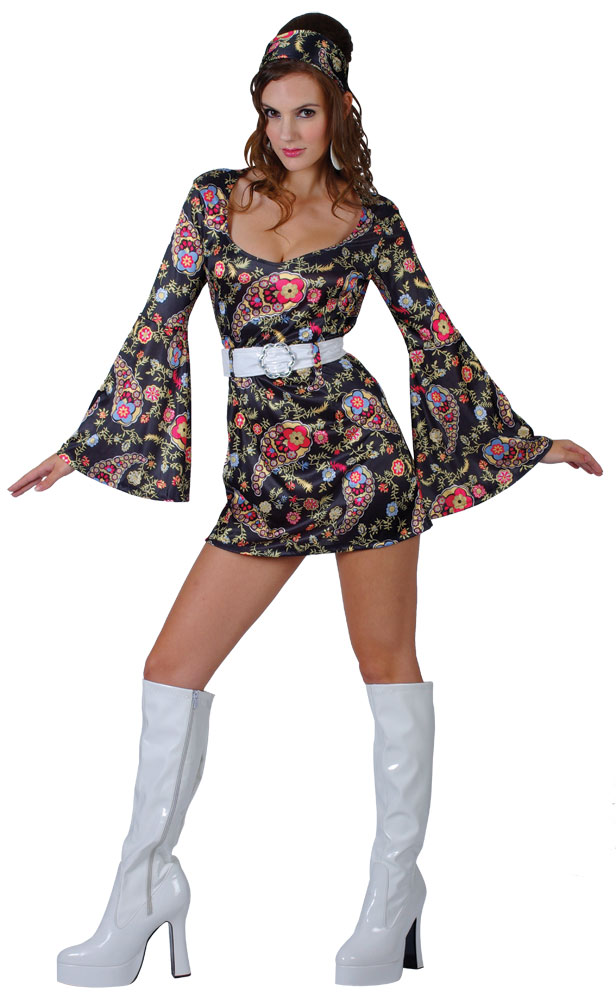 Ladies Womens Hippie Hippy Fancy Dress Costume 60s 70s Groovy ...